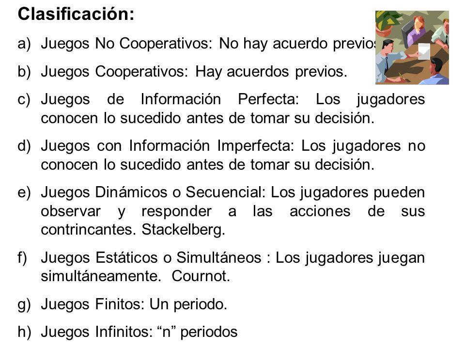 Clasificación: a)Juegos No Cooperativos: No hay acuerdo previos. b)Juegos Cooperativos: Hay acuerdos previos. c)Juegos de Información Perfecta: Los ju
