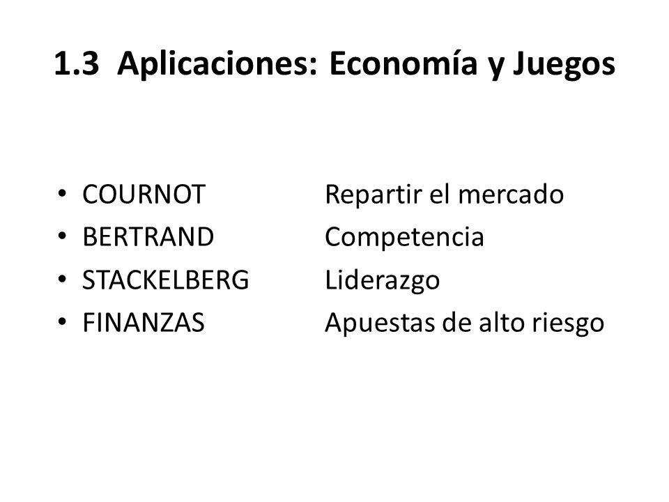 1.3 Aplicaciones: Economía y Juegos COURNOTRepartir el mercado BERTRANDCompetencia STACKELBERGLiderazgo FINANZASApuestas de alto riesgo