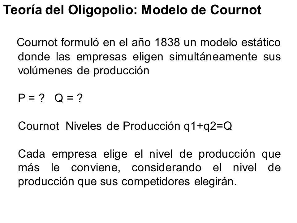 Teoría del Oligopolio: Modelo de Cournot Cournot formuló en el año 1838 un modelo estático donde las empresas eligen simultáneamente sus volúmenes de