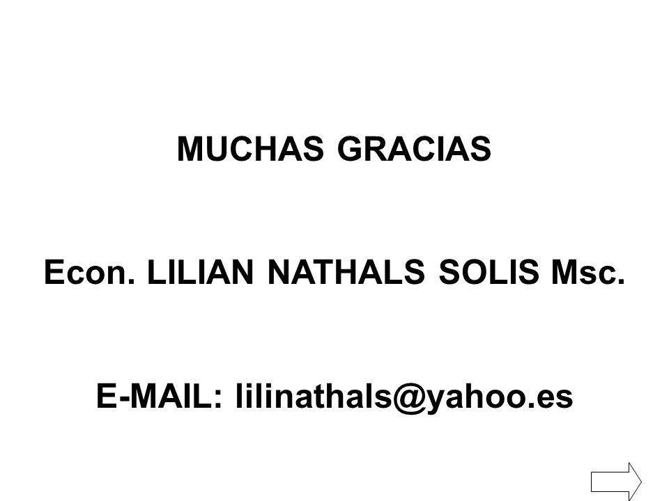 MUCHAS GRACIAS Econ. LILIAN NATHALS SOLIS Msc. E-MAIL: lilinathals@yahoo.es