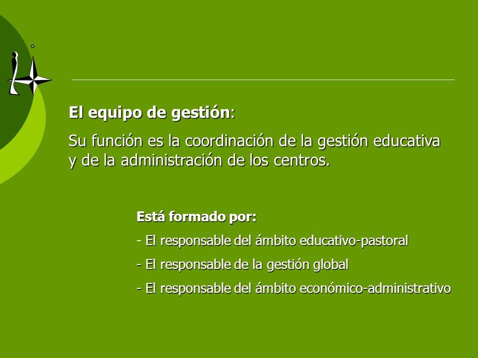 El equipo de gestión: Su función es la coordinación de la gestión educativa y de la administración de los centros. Está formado por: El responsable de