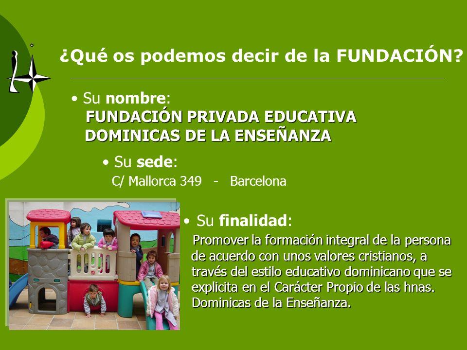 ¿Qué os podemos decir de la FUNDACIÓN? Su nombre: FUNDACIÓN PRIVADA EDUCATIVA DOMINICAS DE LA ENSEÑANZA DOMINICAS DE LA ENSEÑANZA Su sede: C/ Mallorca