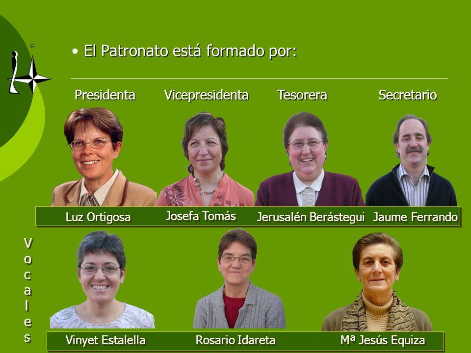 PresidentaVicepresidentaTesorera Secretario Secretario El Patronato está formado por: Luz Ortigosa Josefa Tomás Jerusalén Berástegui Jaume Ferrando Vo