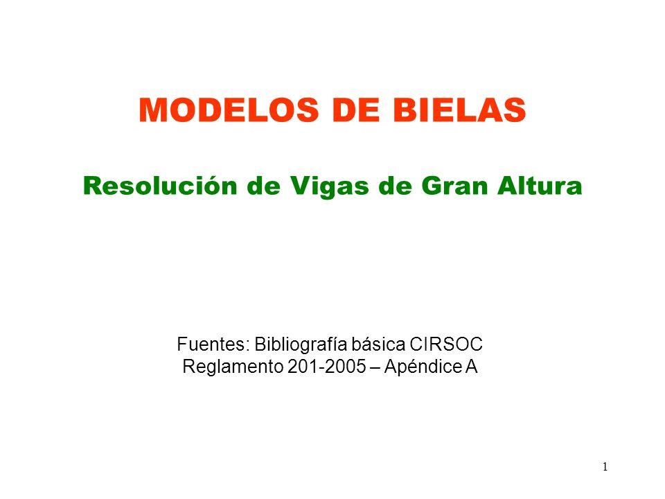 1 MODELOS DE BIELAS Resolución de Vigas de Gran Altura Fuentes: Bibliografía básica CIRSOC Reglamento 201-2005 – Apéndice A