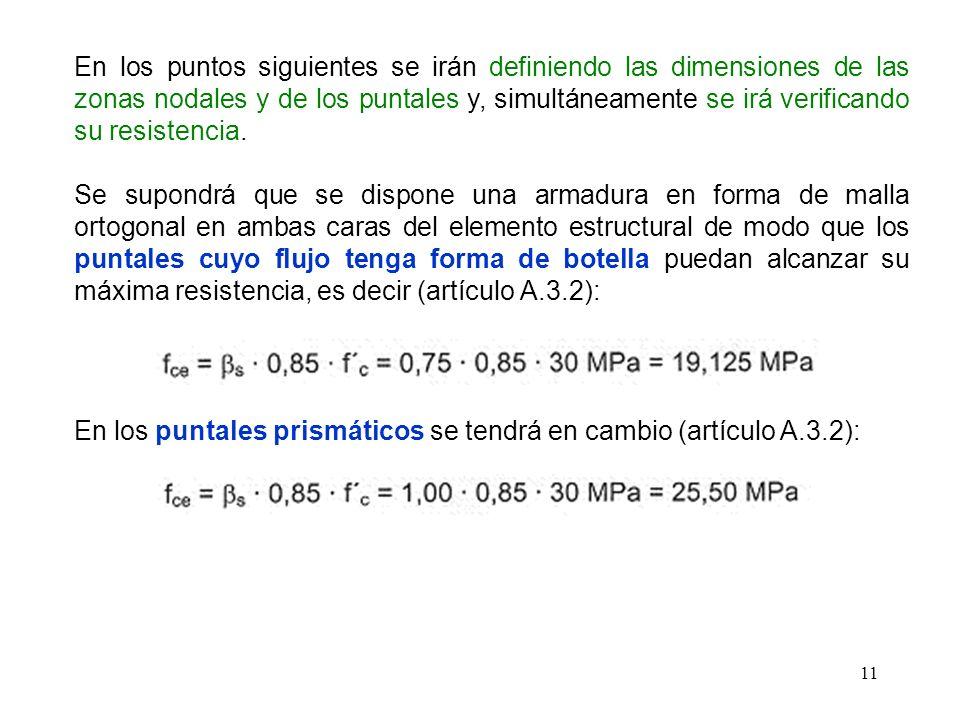 11 En los puntos siguientes se irán definiendo las dimensiones de las zonas nodales y de los puntales y, simultáneamente se irá verificando su resiste