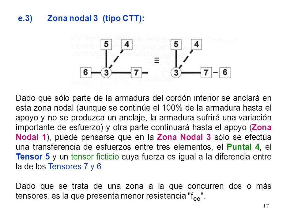 17 e.3) Zona nodal 3 (tipo CTT): Dado que sólo parte de la armadura del cordón inferior se anclará en esta zona nodal (aunque se continúe el 100% de l