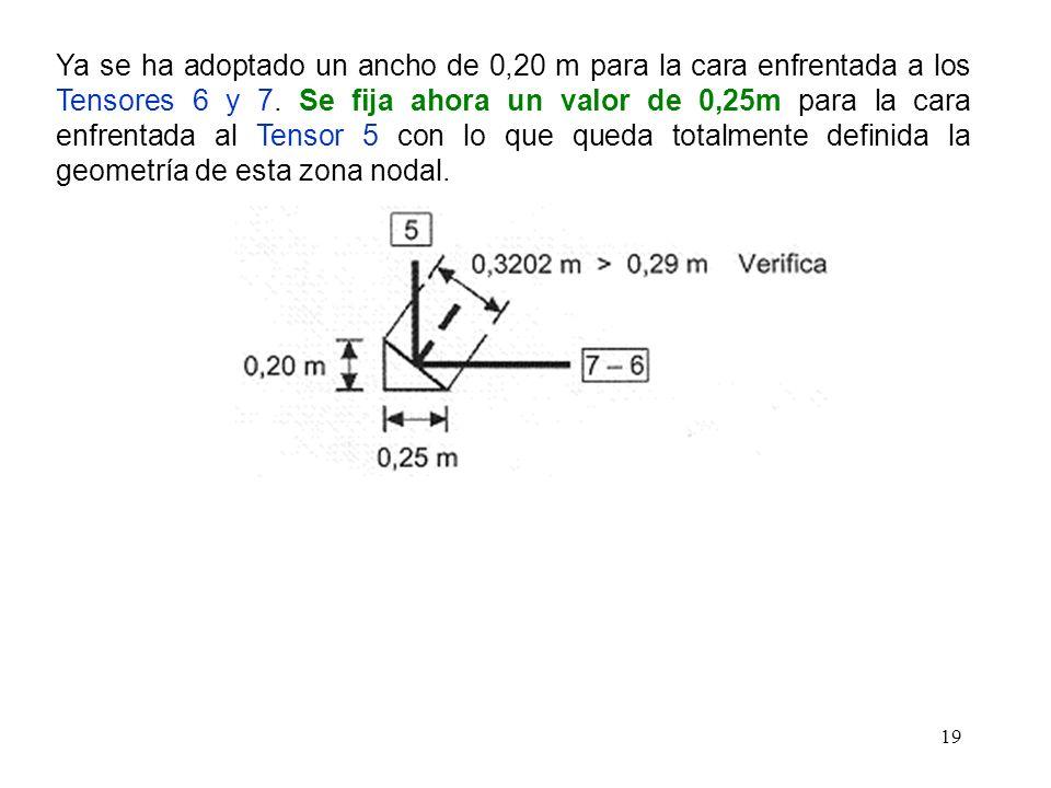 19 Ya se ha adoptado un ancho de 0,20 m para la cara enfrentada a los Tensores 6 y 7. Se fija ahora un valor de 0,25m para la cara enfrentada al Tenso