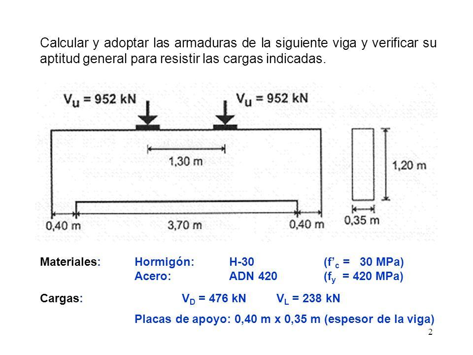 2 Calcular y adoptar las armaduras de la siguiente viga y verificar su aptitud general para resistir las cargas indicadas. Materiales:Hormigón: H-30 (