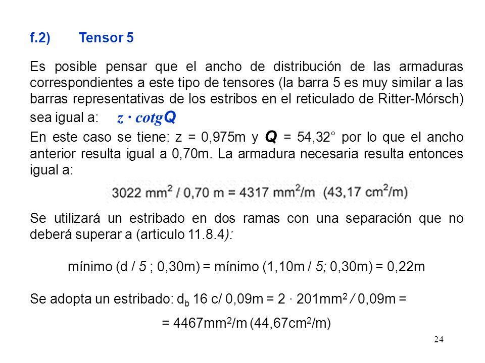 24 f.2) Tensor 5 Es posible pensar que el ancho de distribución de las armaduras correspondientes a este tipo de tensores (la barra 5 es muy similar a