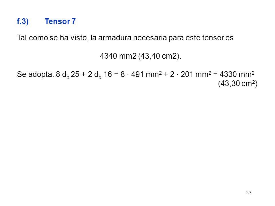 25 f.3) Tensor 7 Tal como se ha visto, la armadura necesaria para este tensor es 4340 mm2 (43,40 cm2). Se adopta: 8 d b 25 + 2 d b 16 = 8 · 491 mm 2 +