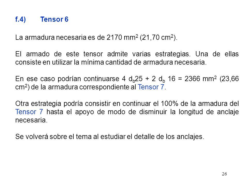 26 f.4) Tensor 6 La armadura necesaria es de 2170 mm 2 (21,70 cm 2 ). El armado de este tensor admite varias estrategias. Una de ellas consiste en uti