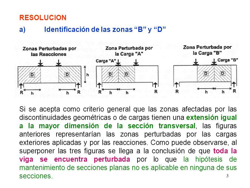24 f.2) Tensor 5 Es posible pensar que el ancho de distribución de las armaduras correspondientes a este tipo de tensores (la barra 5 es muy similar a las barras representativas de los estribos en el reticulado de Ritter-Mórsch) sea igual a: z · cotg Q En este caso se tiene: z = 0,975m y Q = 54,32° por lo que el ancho anterior resulta igual a 0,70m.