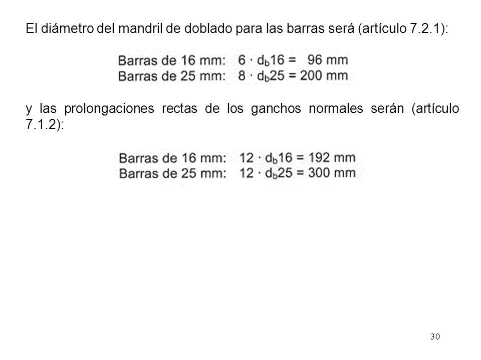 30 El diámetro del mandril de doblado para las barras será (artículo 7.2.1): y las prolongaciones rectas de los ganchos normales serán (artículo 7.1.2