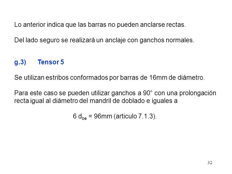 32 Lo anterior indica que las barras no pueden anclarse rectas. Del lado seguro se realizará un anclaje con ganchos normales. g.3) Tensor 5 Se utiliza