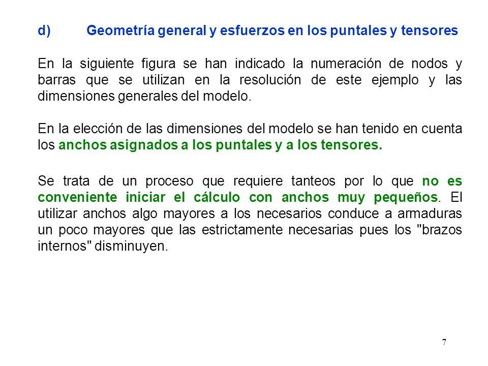 7 d)Geometría general y esfuerzos en los puntales y tensores En la siguiente figura se han indicado la numeración de nodos y barras que se utilizan en