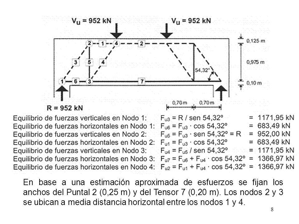 8 En base a una estimación aproximada de esfuerzos se fijan los anchos del Puntal 2 (0,25 m) y del Tensor 7 (0,20 m). Los nodos 2 y 3 se ubican a medi