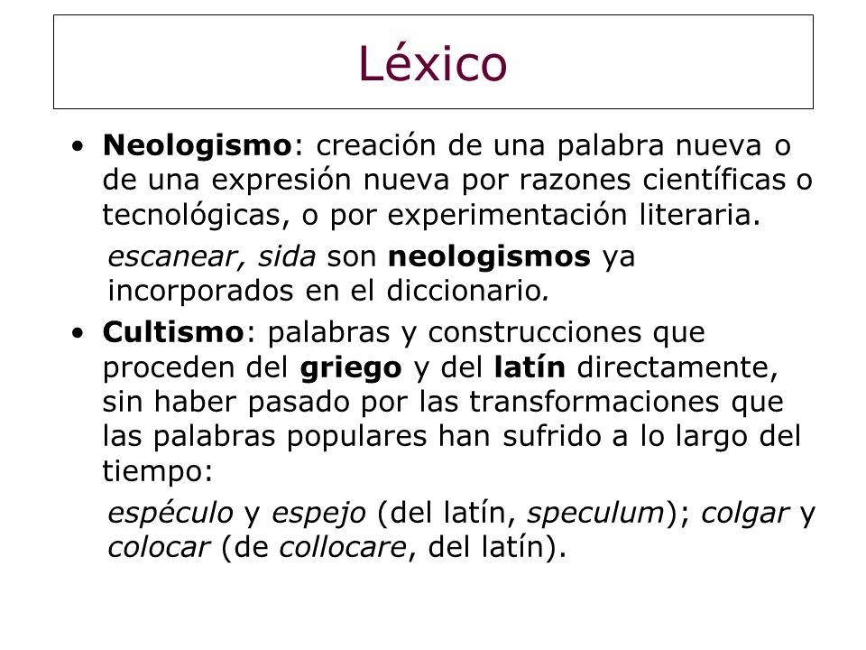 Léxico Neologismo: creación de una palabra nueva o de una expresión nueva por razones científicas o tecnológicas, o por experimentación literaria. esc
