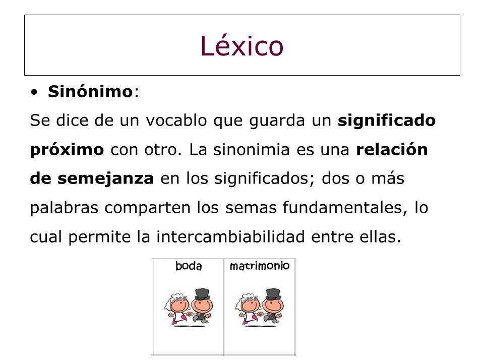 Léxico Sinónimo: Se dice de un vocablo que guarda un significado próximo con otro. La sinonimia es una relación de semejanza en los significados; dos