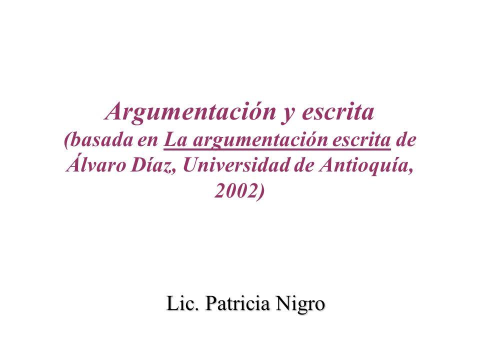 Argumentación y escrita (basada en La argumentación escrita de Álvaro Díaz, Universidad de Antioquía, 2002) Lic. Patricia Nigro