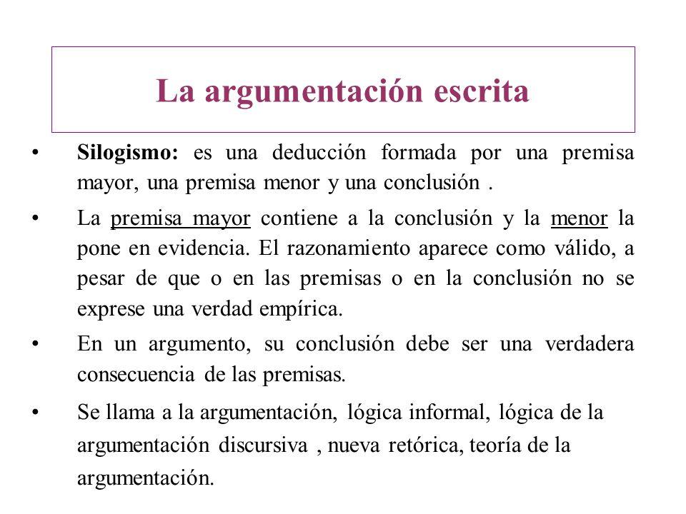 Silogismo: es una deducción formada por una premisa mayor, una premisa menor y una conclusión. La premisa mayor contiene a la conclusión y la menor la