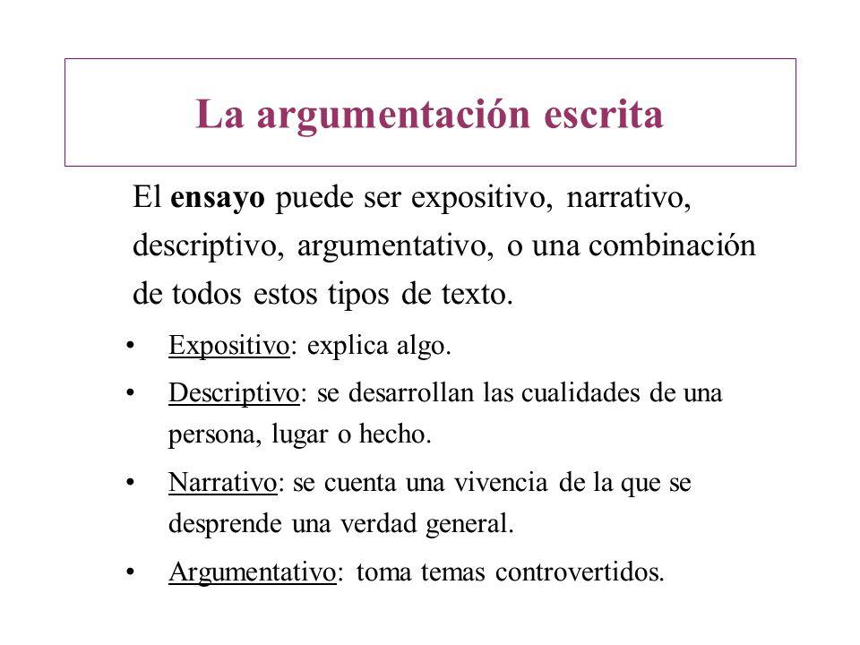 El ensayo puede ser expositivo, narrativo, descriptivo, argumentativo, o una combinación de todos estos tipos de texto. Expositivo: explica algo. Desc
