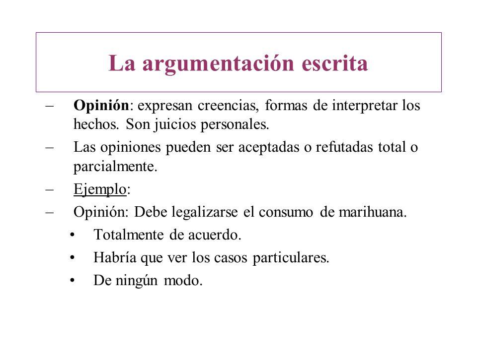–Opinión: expresan creencias, formas de interpretar los hechos. Son juicios personales. –Las opiniones pueden ser aceptadas o refutadas total o parcia
