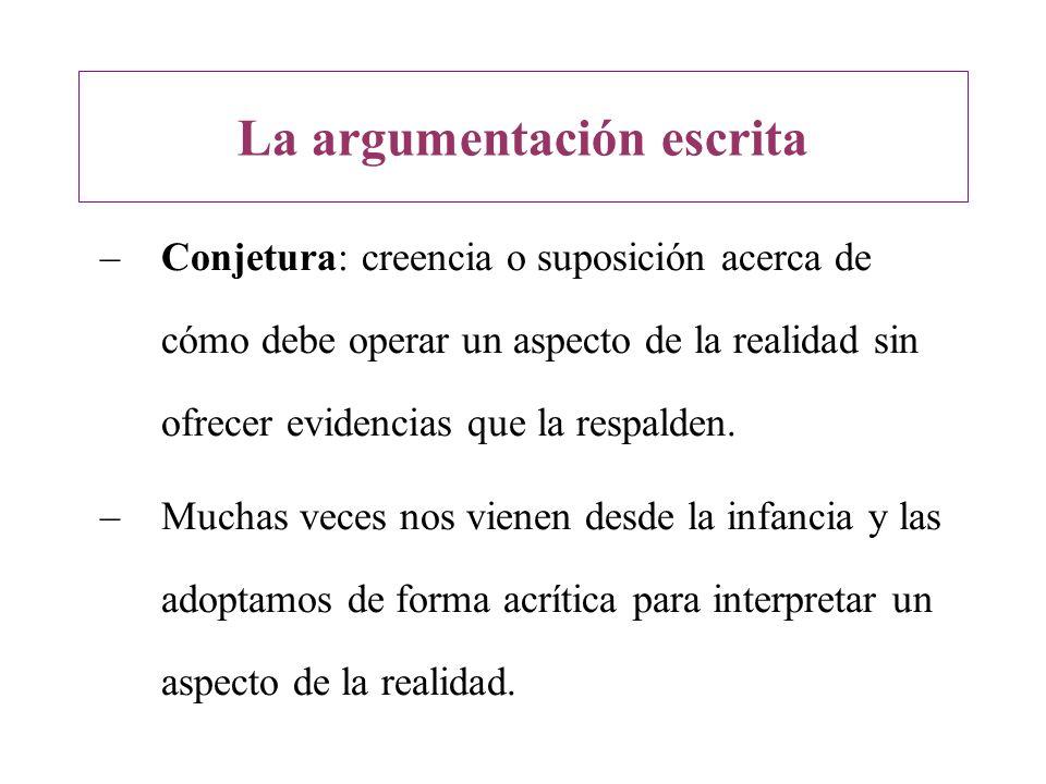 –Conjetura: creencia o suposición acerca de cómo debe operar un aspecto de la realidad sin ofrecer evidencias que la respalden. –Muchas veces nos vien
