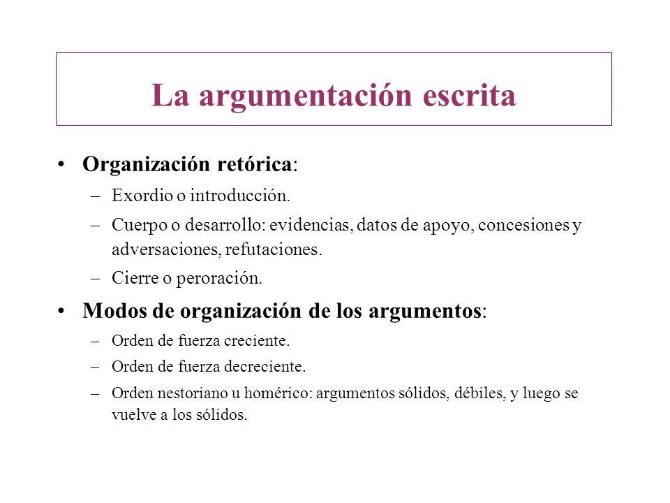 Organización retórica: –Exordio o introducción. –Cuerpo o desarrollo: evidencias, datos de apoyo, concesiones y adversaciones, refutaciones. –Cierre o