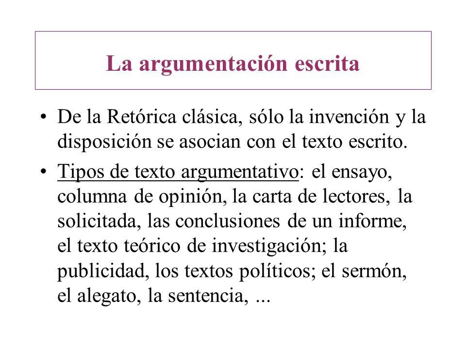 La argumentación escrita De la Retórica clásica, sólo la invención y la disposición se asocian con el texto escrito. Tipos de texto argumentativo: el