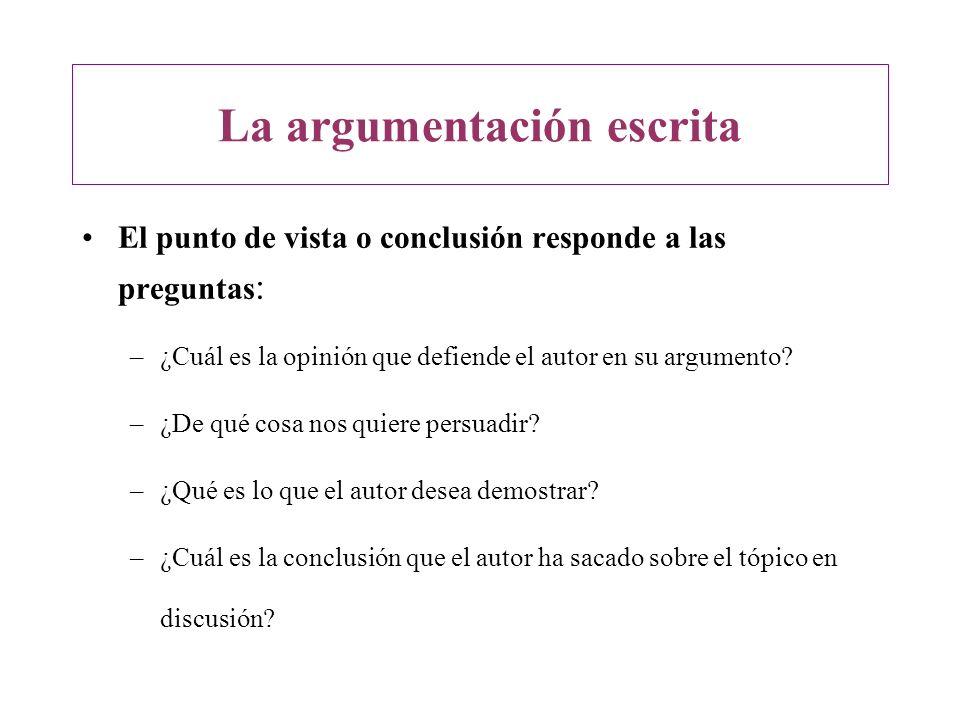 El punto de vista o conclusión responde a las preguntas : –¿Cuál es la opinión que defiende el autor en su argumento? –¿De qué cosa nos quiere persuad