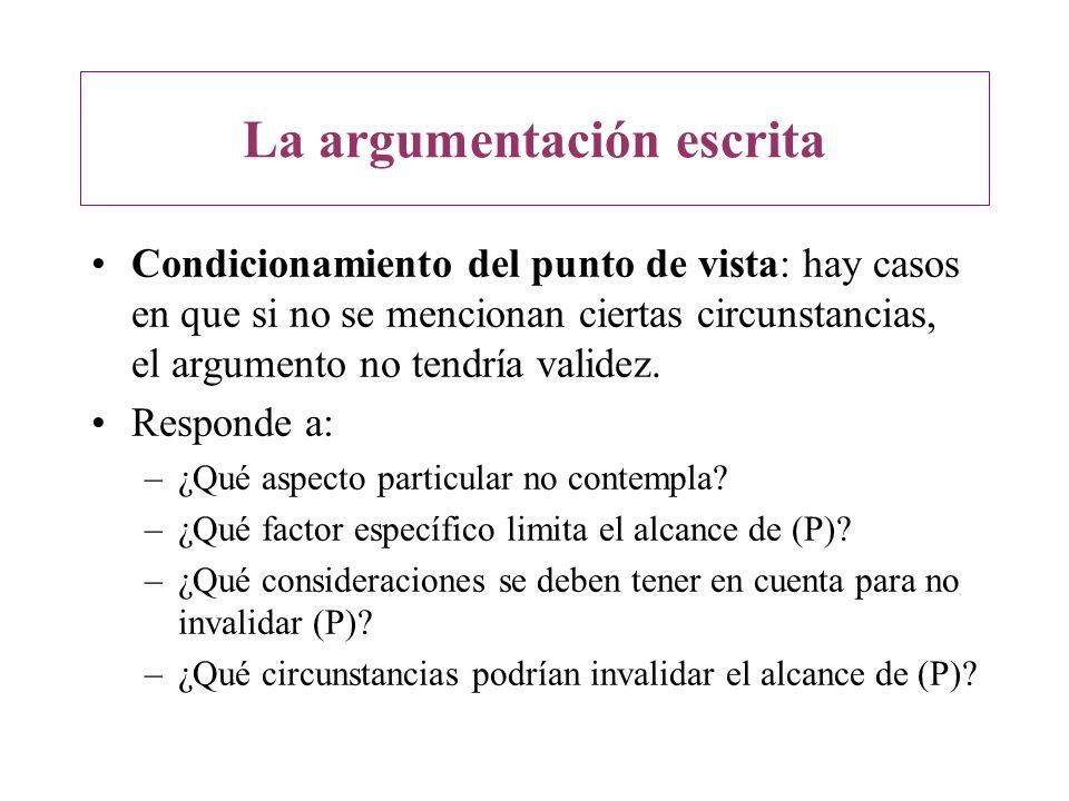 Condicionamiento del punto de vista: hay casos en que si no se mencionan ciertas circunstancias, el argumento no tendría validez. Responde a: –¿Qué as