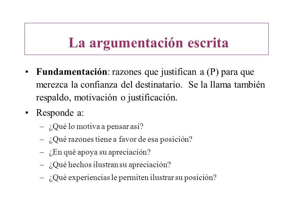 Fundamentación: razones que justifican a (P) para que merezca la confianza del destinatario. Se la llama también respaldo, motivación o justificación.