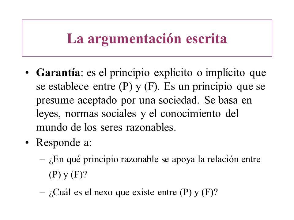La argumentación escrita Garantía: es el principio explícito o implícito que se establece entre (P) y (F). Es un principio que se presume aceptado por