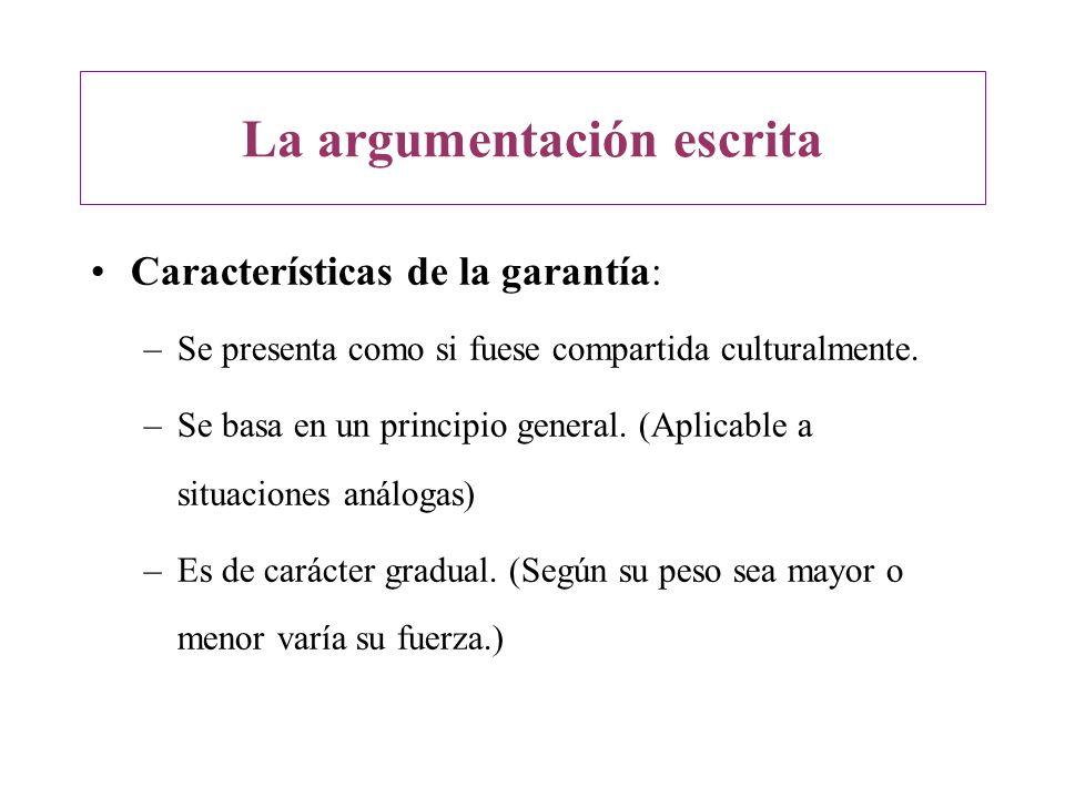 La argumentación escrita Características de la garantía: –Se presenta como si fuese compartida culturalmente. –Se basa en un principio general. (Aplic