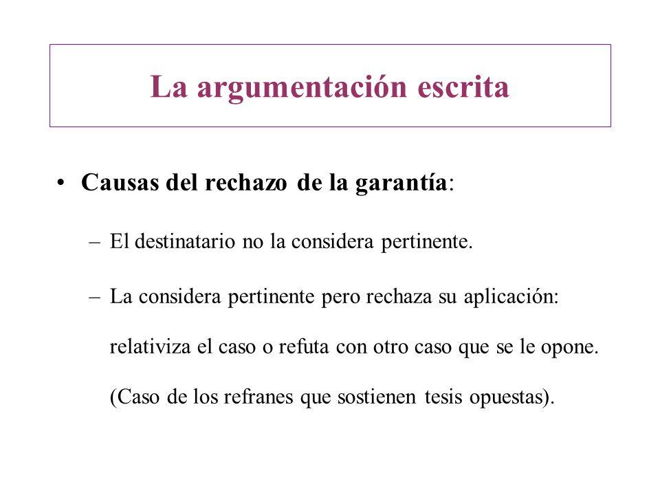 La argumentación escrita Causas del rechazo de la garantía: –El destinatario no la considera pertinente. –La considera pertinente pero rechaza su apli