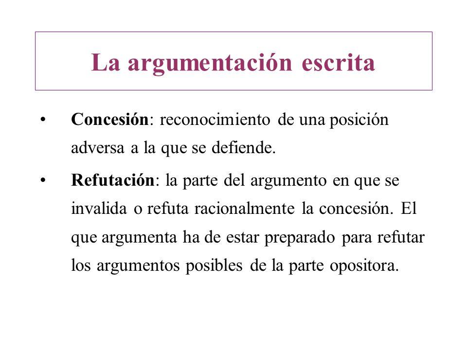 Concesión: reconocimiento de una posición adversa a la que se defiende. Refutación: la parte del argumento en que se invalida o refuta racionalmente l
