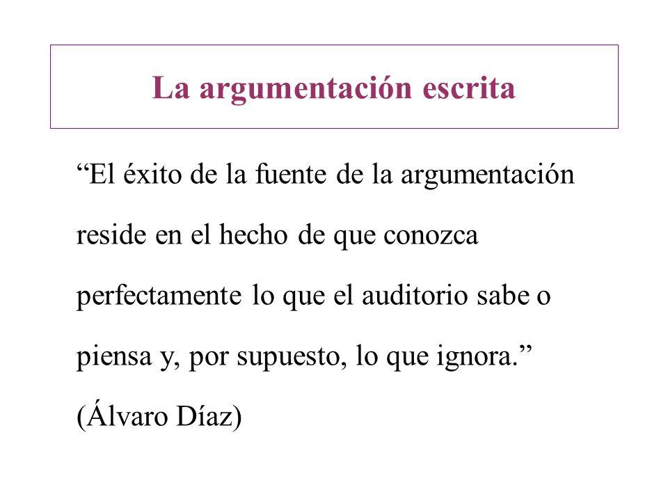 La argumentación escrita El éxito de la fuente de la argumentación reside en el hecho de que conozca perfectamente lo que el auditorio sabe o piensa y
