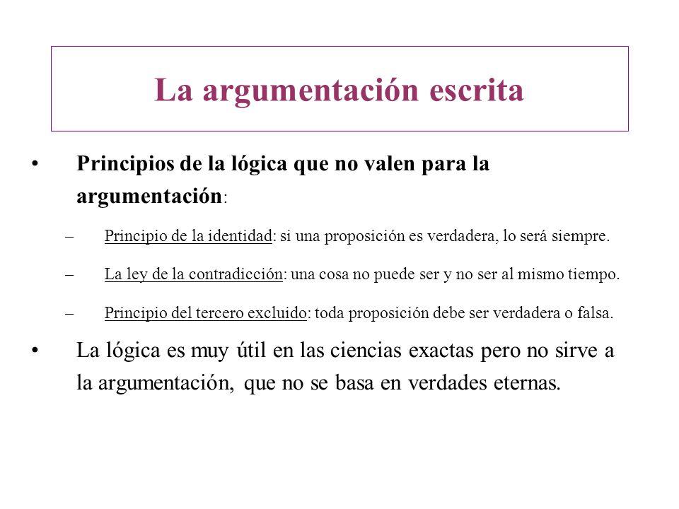 Principios de la lógica que no valen para la argumentación : –Principio de la identidad: si una proposición es verdadera, lo será siempre. –La ley de