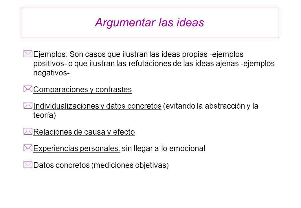 Argumentar las ideas * Ejemplos: Son casos que ilustran las ideas propias -ejemplos positivos- o que ilustran las refutaciones de las ideas ajenas -ej