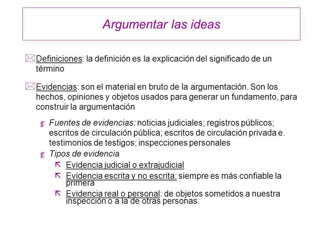 Argumentar las ideas * Definiciones: la definición es la explicación del significado de un término * Evidencias: son el material en bruto de la argume