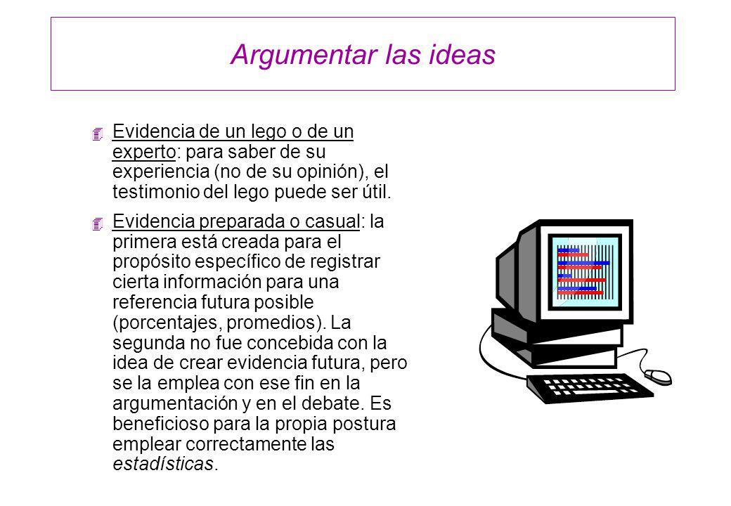 Argumentar las ideas 4 Evidencia de un lego o de un experto: para saber de su experiencia (no de su opinión), el testimonio del lego puede ser útil. 4