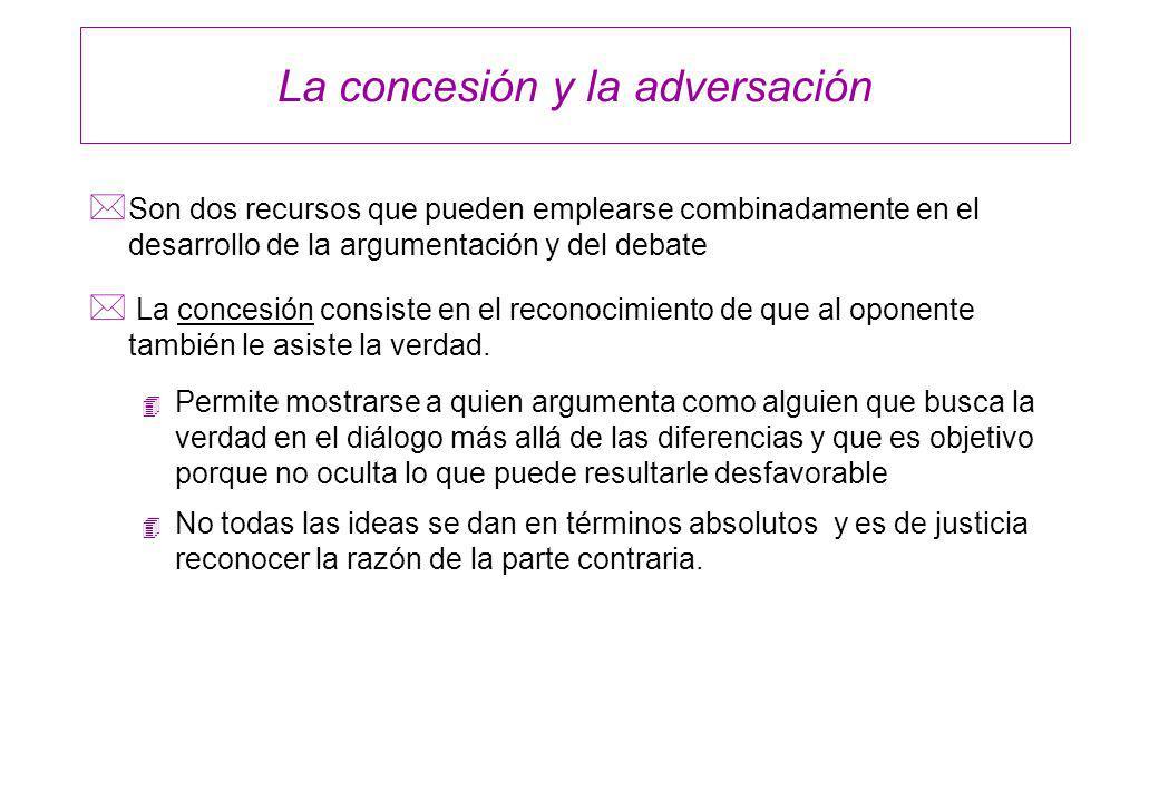 La concesión y la adversación * Son dos recursos que pueden emplearse combinadamente en el desarrollo de la argumentación y del debate * La concesión