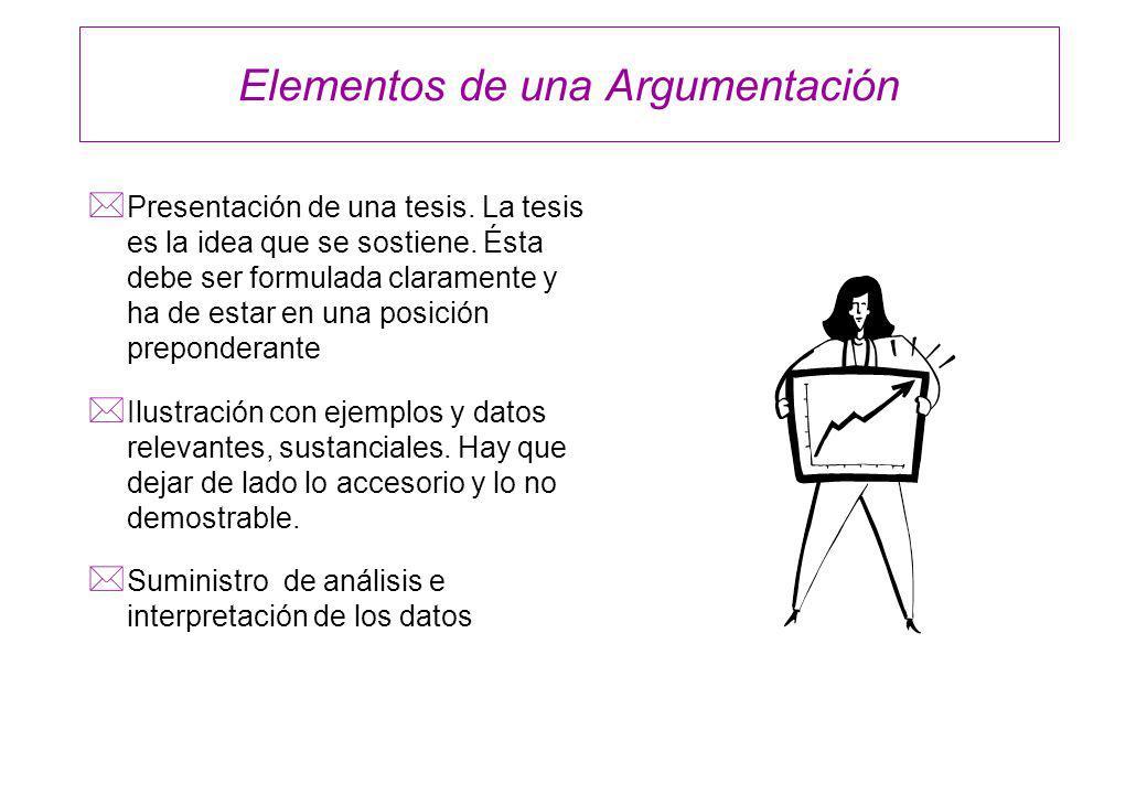 Elementos de una Argumentación * Presentación de una tesis. La tesis es la idea que se sostiene. Ésta debe ser formulada claramente y ha de estar en u