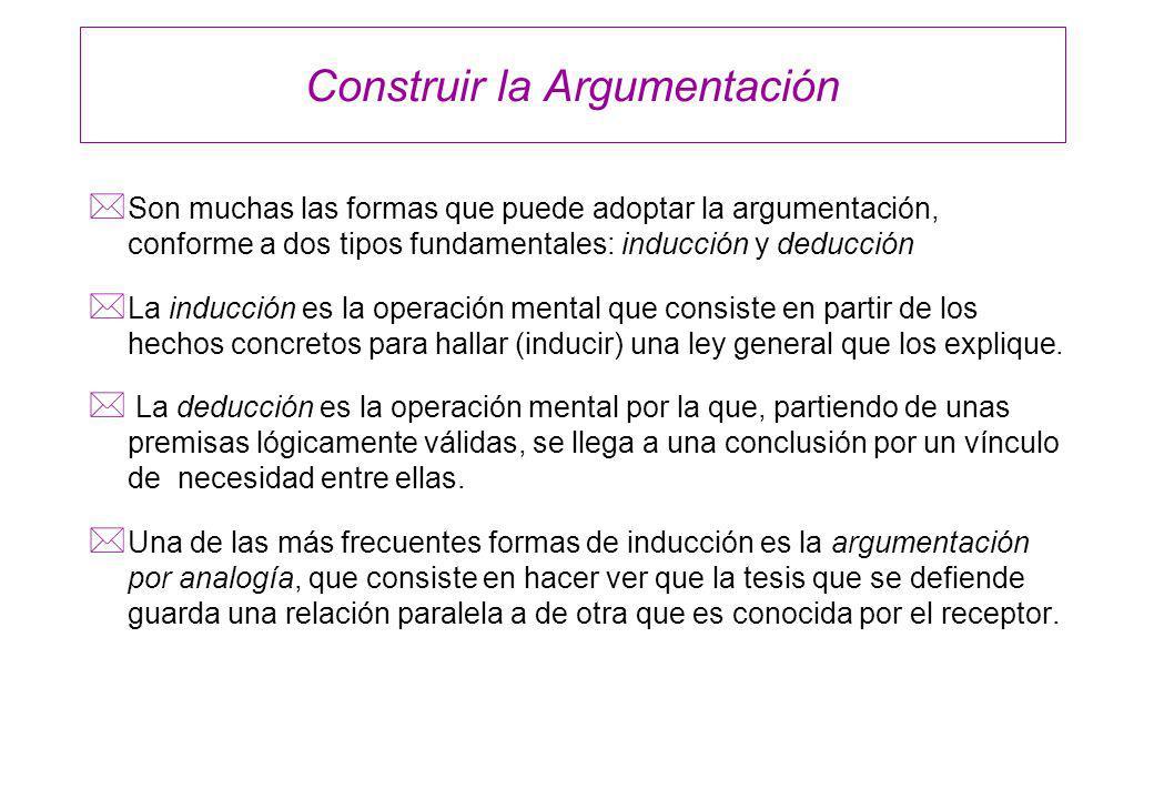 Construir la Argumentación * Son muchas las formas que puede adoptar la argumentación, conforme a dos tipos fundamentales: inducción y deducción * La