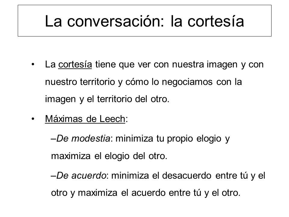 La conversación: la cortesía La cortesía tiene que ver con nuestra imagen y con nuestro territorio y cómo lo negociamos con la imagen y el territorio