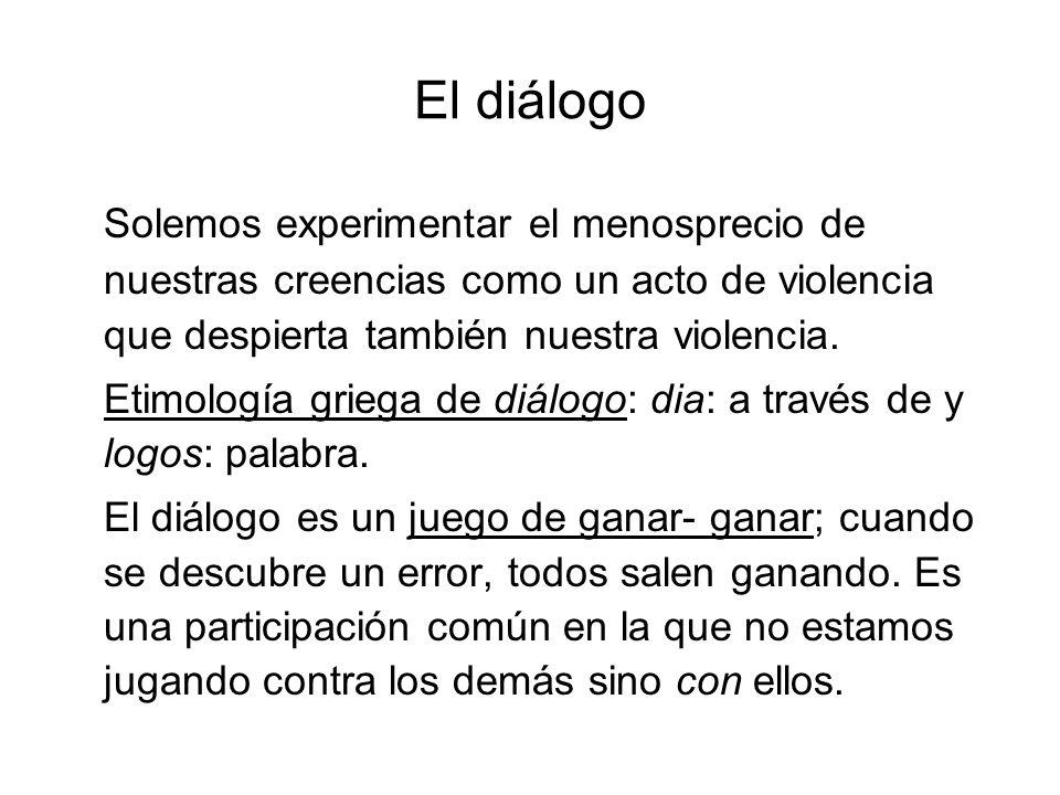 El diálogo Solemos experimentar el menosprecio de nuestras creencias como un acto de violencia que despierta también nuestra violencia. Etimología gri