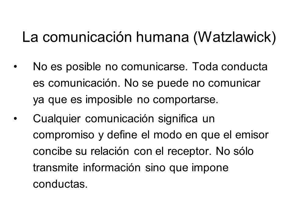 La comunicación humana (Watzlawick) Toda comunicación tiene un aspecto de contenido y un aspecto relacional tales que el segundo clasifica al primero y es, por ende, una metacomunicación.