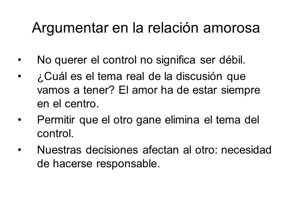 Argumentar en la relación amorosa No querer el control no significa ser débil. ¿Cuál es el tema real de la discusión que vamos a tener? El amor ha de