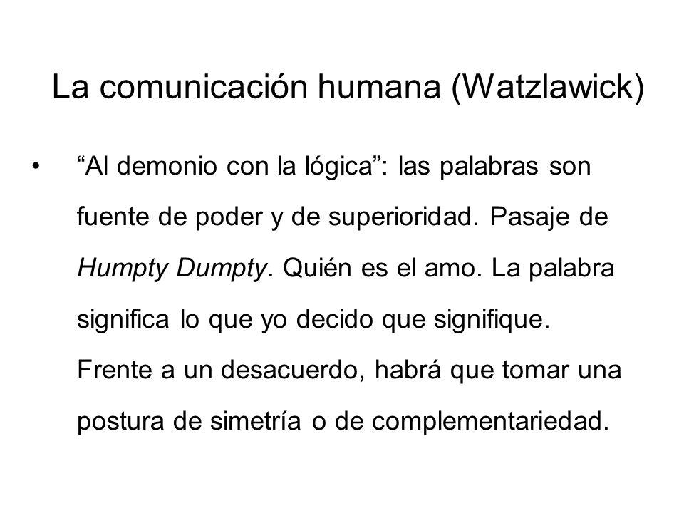 La comunicación humana (Watzlawick) Comunicación patológica: círculos viciosos que no se pueden romper a menos que se convierta en el tema de la comunicación la comunicación misma.