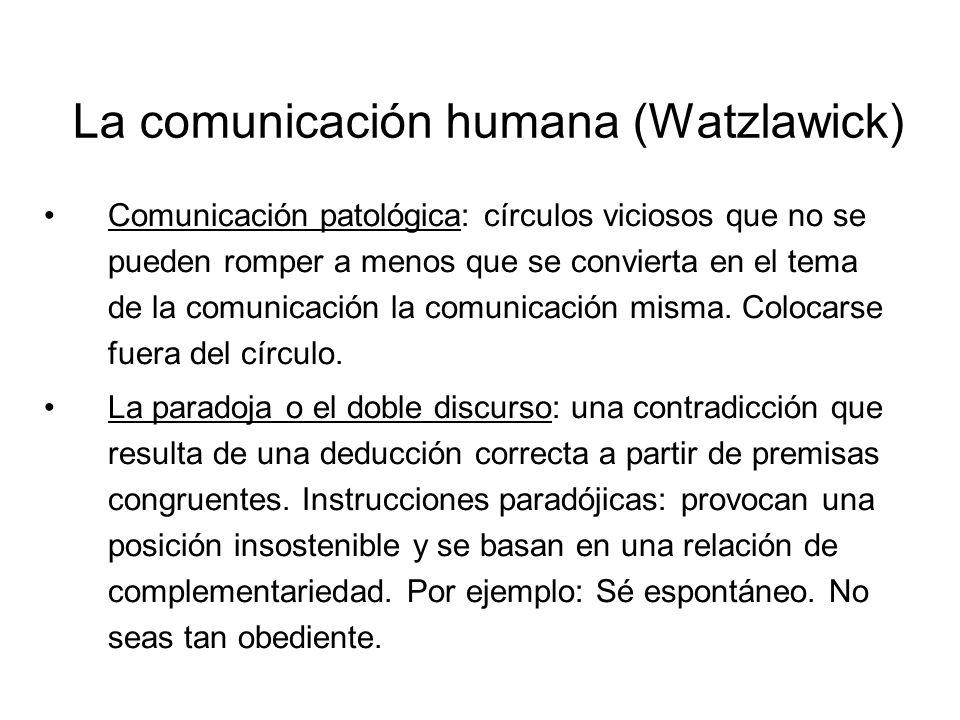 La comunicación humana (Watzlawick) Comunicación patológica: círculos viciosos que no se pueden romper a menos que se convierta en el tema de la comun